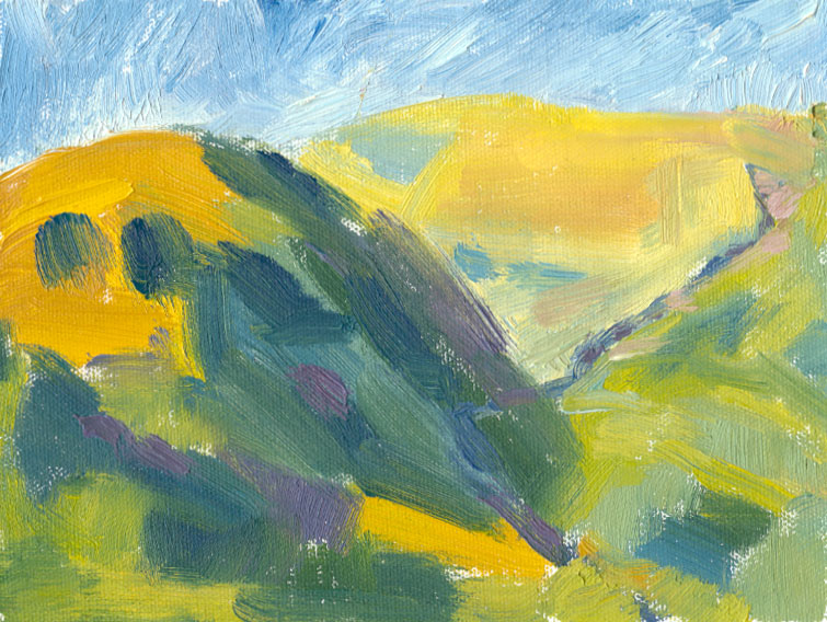 oil sketch of abstract hill shadow