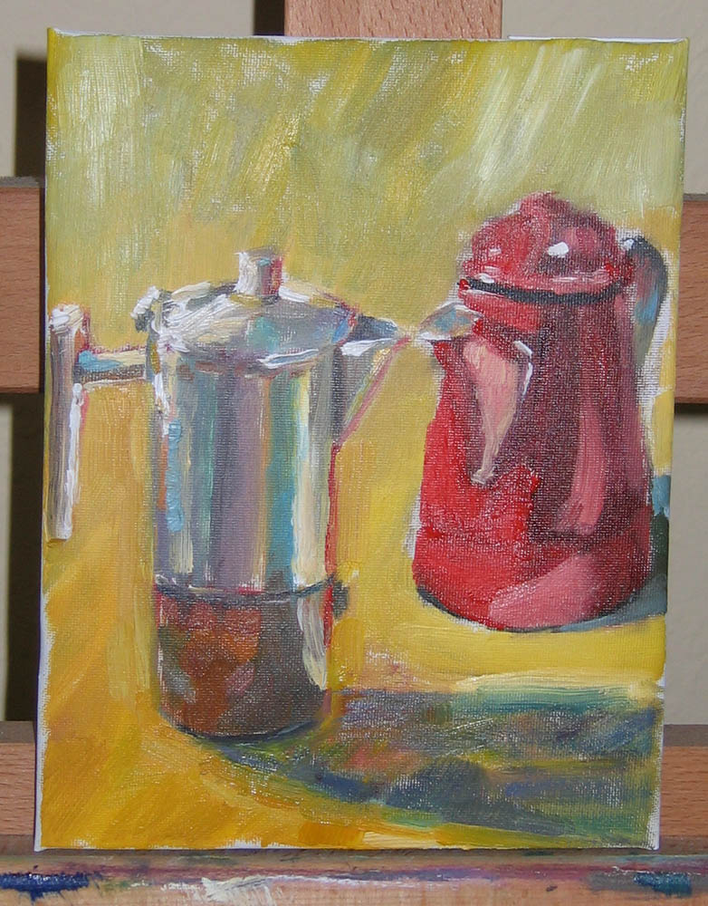oil still life on canvas, coffee pots