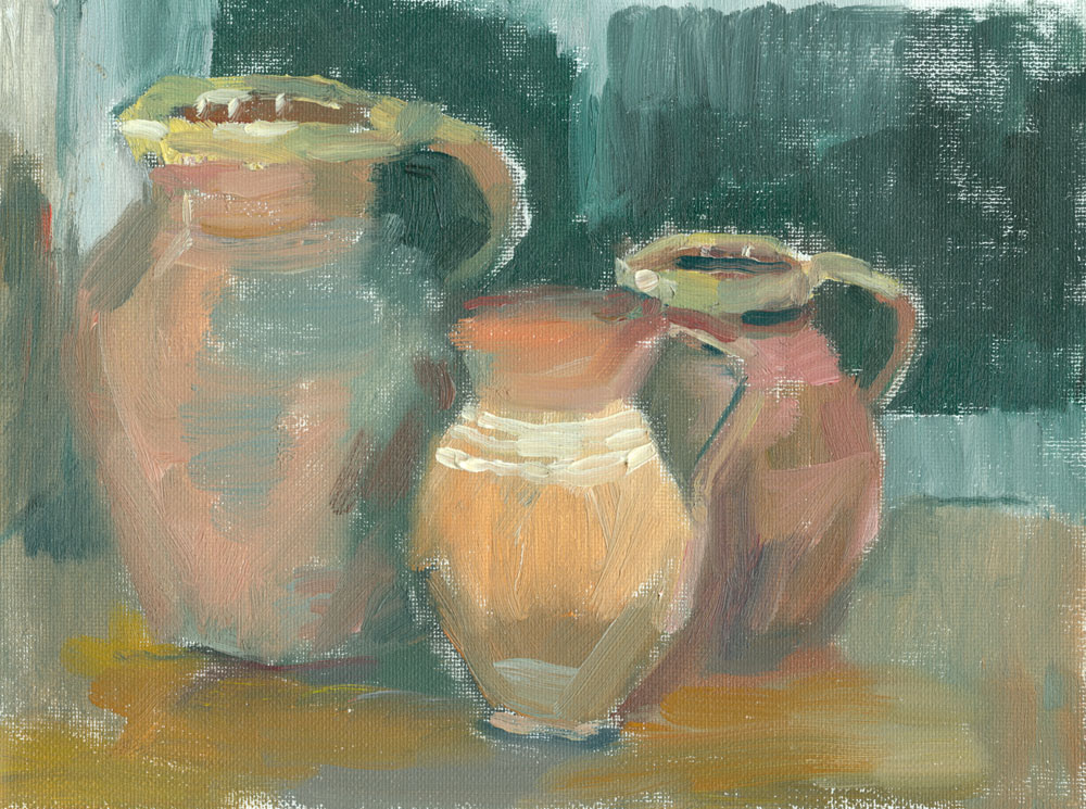 three jugs, Cornish room at night, oil study on 6x8 inch canvas