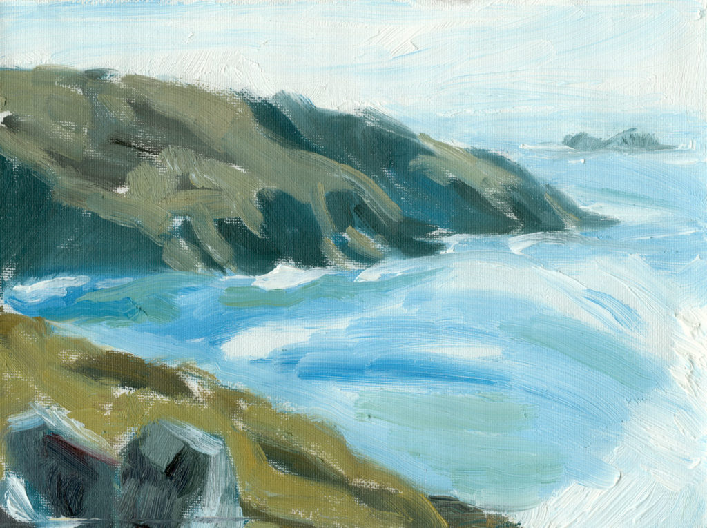plein air painting in oils on canvas from Botallack with Brisons in background