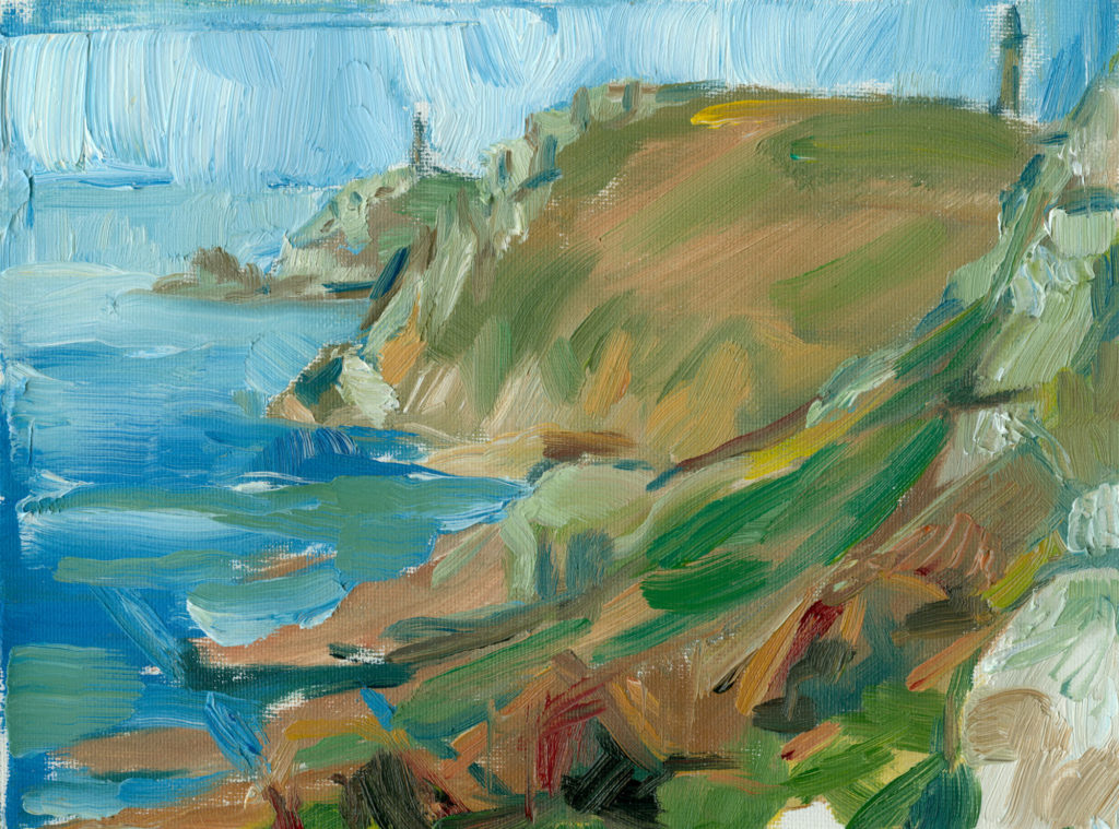 Oil painting on canvas, View from the Chough Cliff, plein air, 6x8 inches
