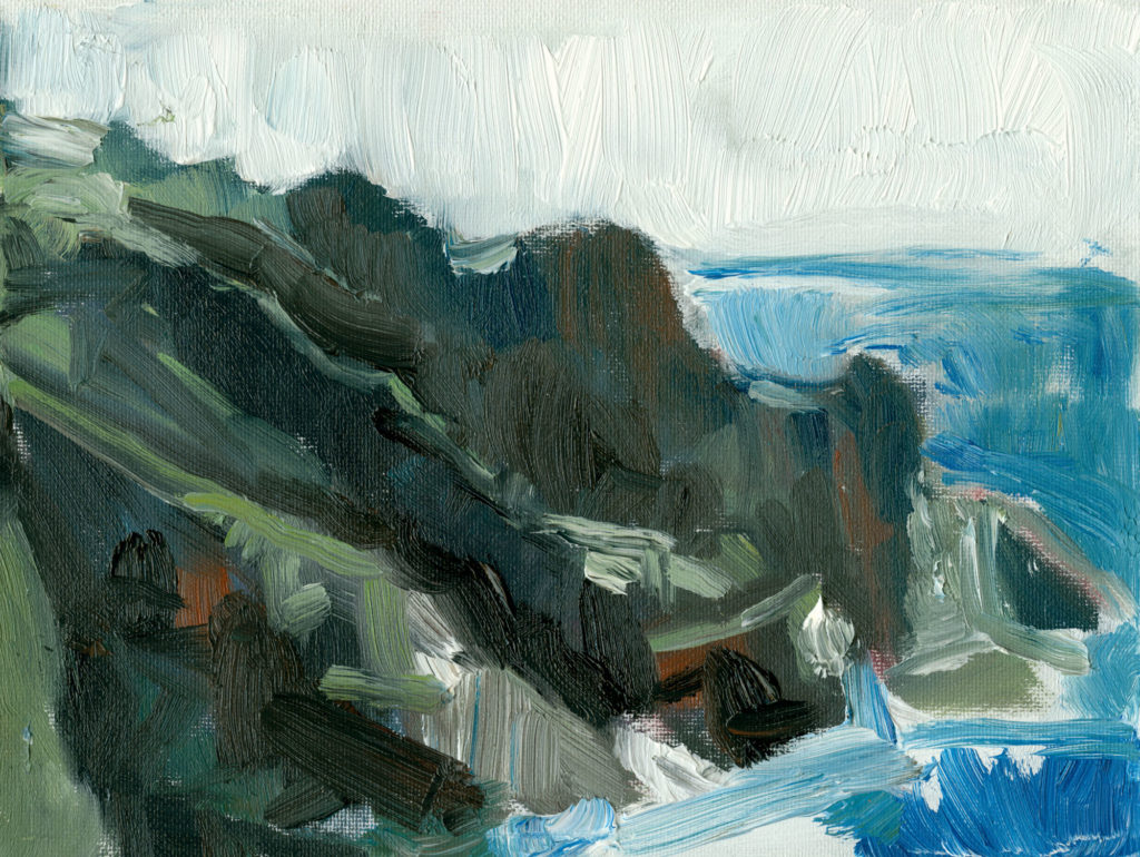 Cornish Fjord, oil on canvas, plein air, 6x8 inches