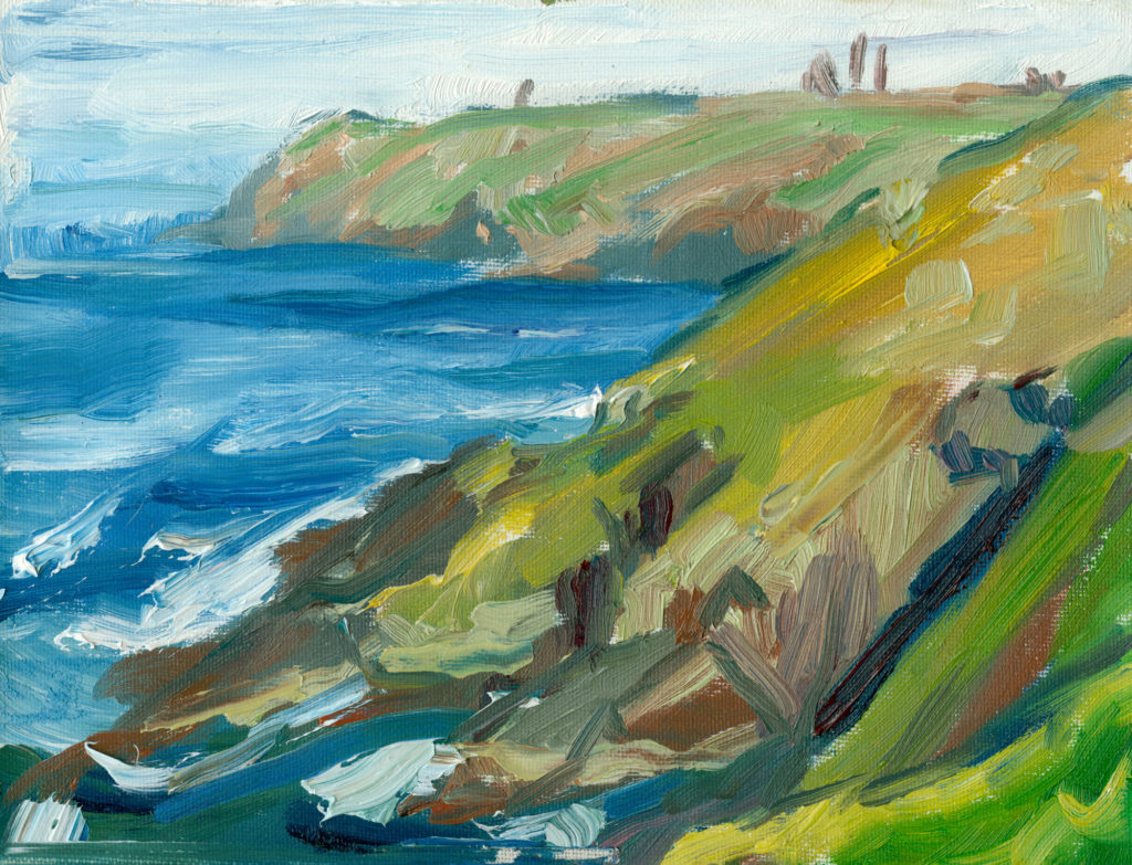 oil painting, view towards Botallack from Kenidjack, small, 6x8 inches on canvas