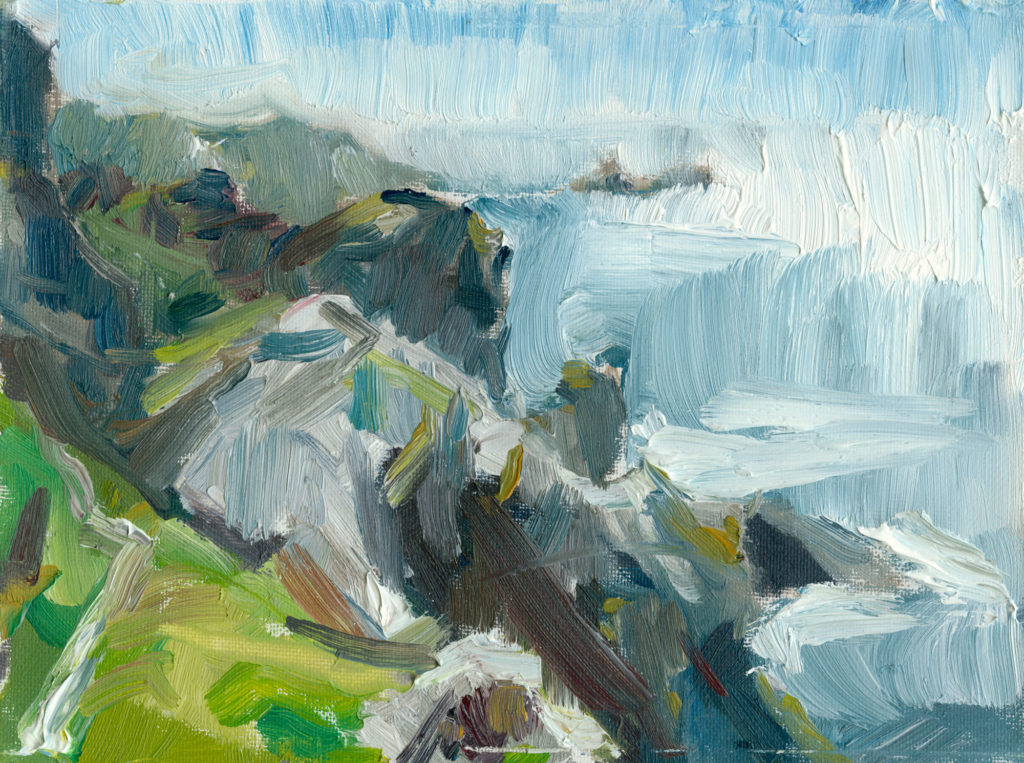 On the Loud Cliffs, plein air painting in oils, 6x8 inch canvas