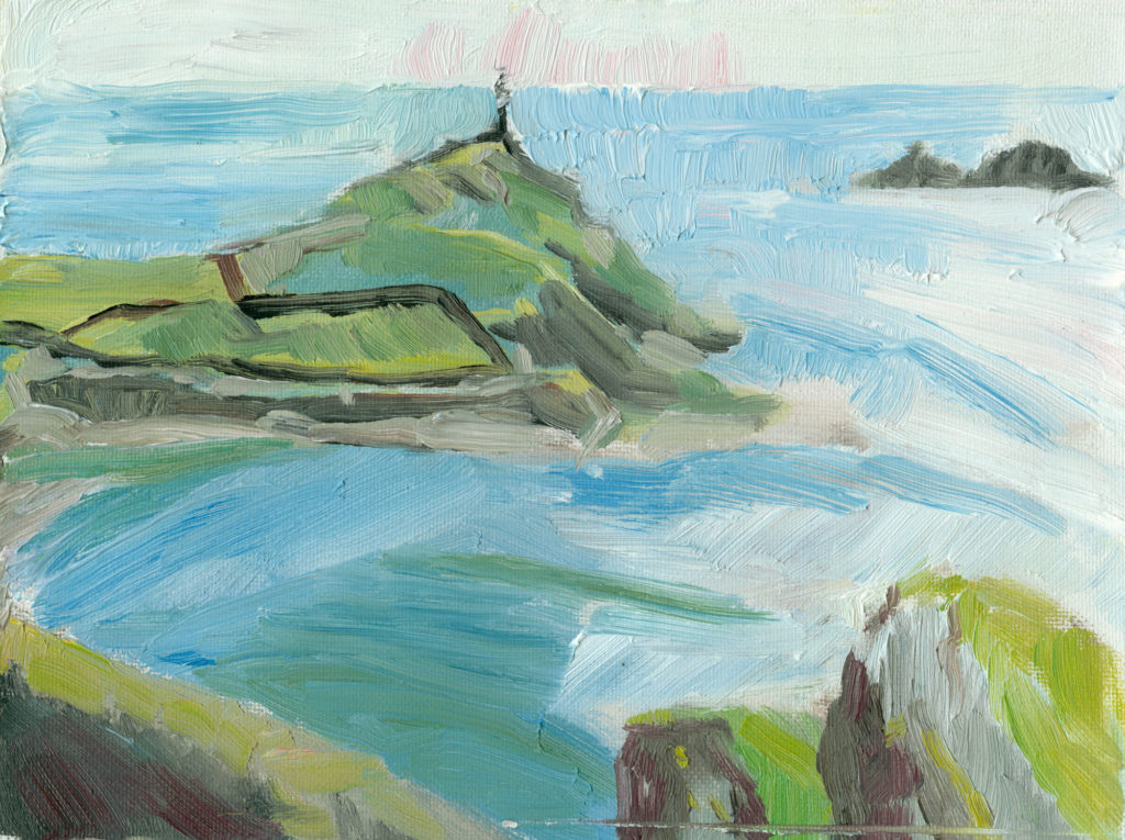 Cape Cornwall oil painting on canvas, small, 6x8 inches plein air