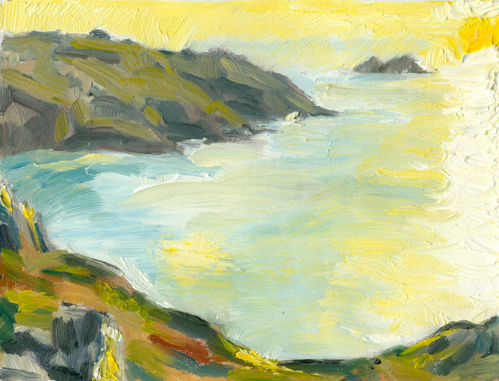 plein air oil painting, Yellow Sun, Cornwall, 6x8 inches