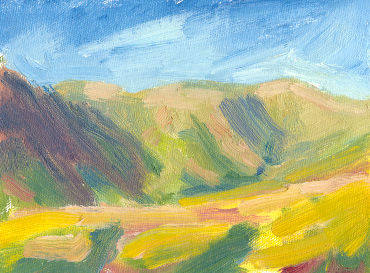 oil sketch of crosdale shadows