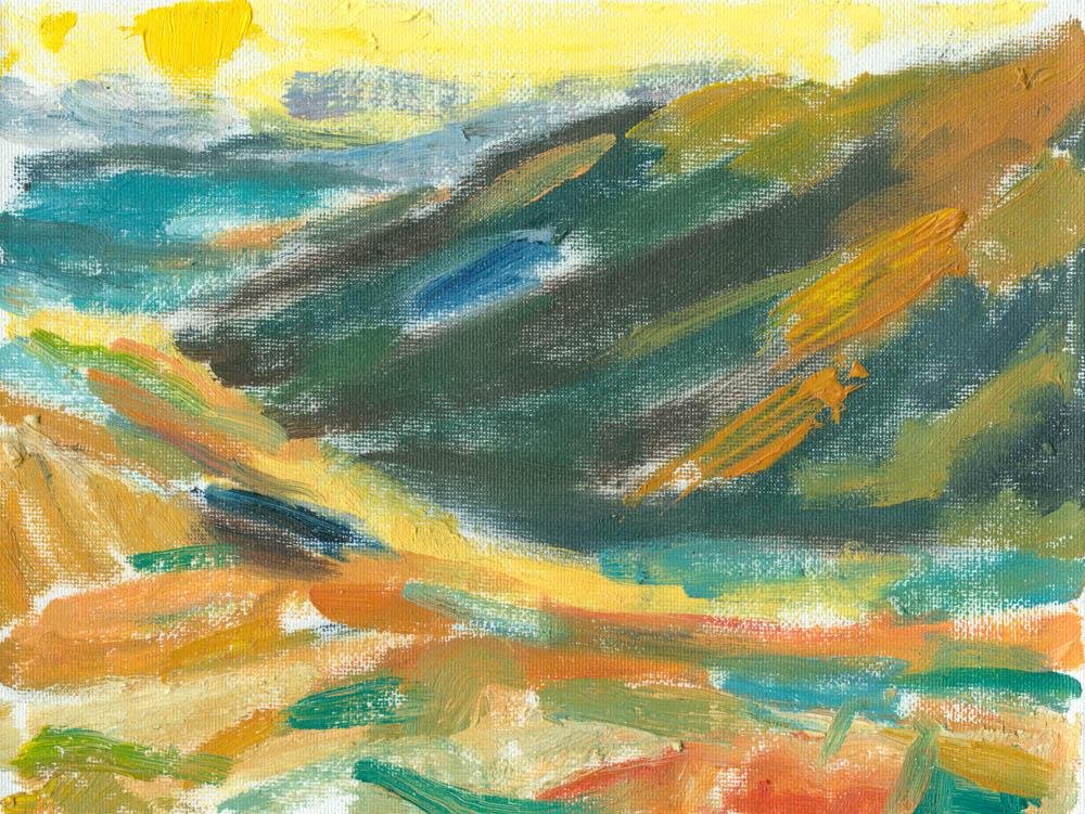 plein air sketch in oils on canvas, sun setting over Crosdale