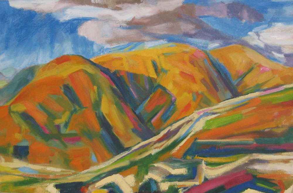 photo of large landscape oil painting, work in progress