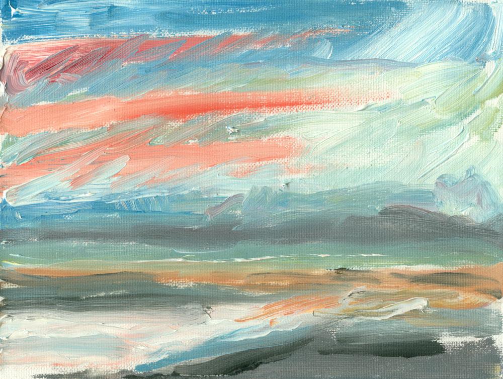 plein air painting of Culzean beach, 6x8 in oils on canvas