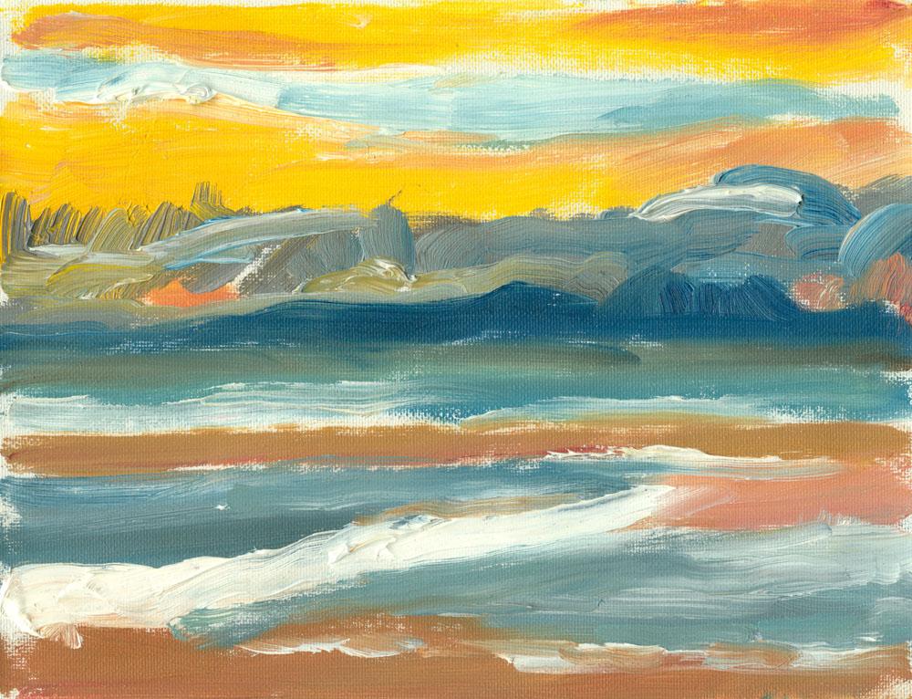 small oil sketch, plein air, of Culzean beach during sunset