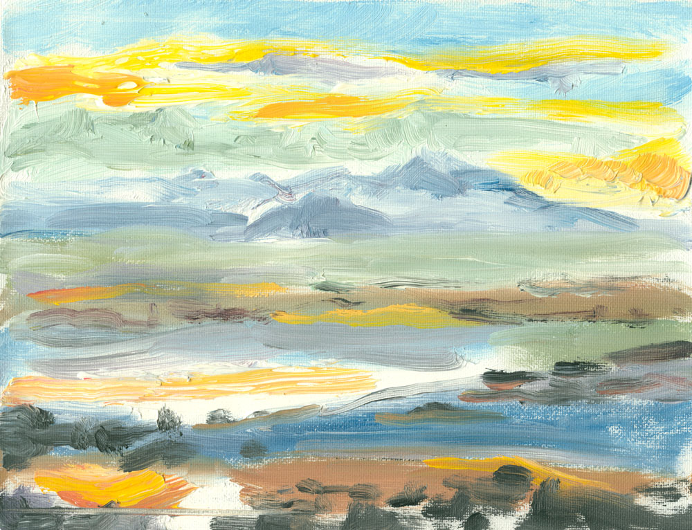 Culzean beach and Arran at sunset, quick oil sketch, plein air, 6x8 inches on canvas