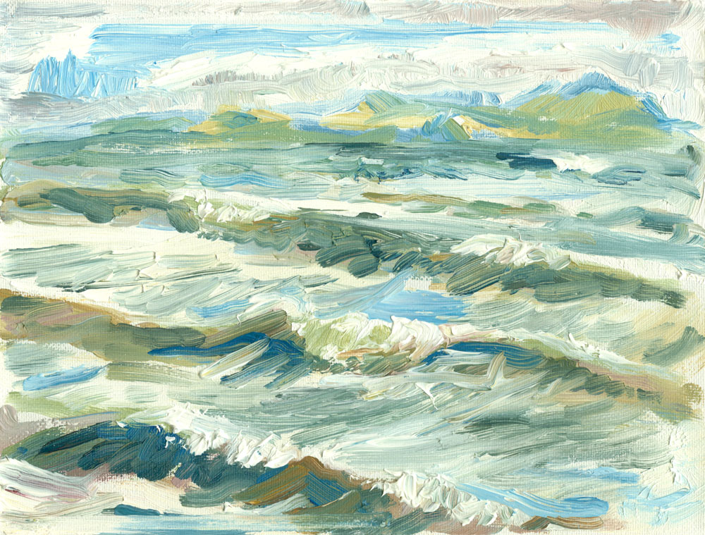 small plein air sketch of waves at Culzean, oil on canvas
