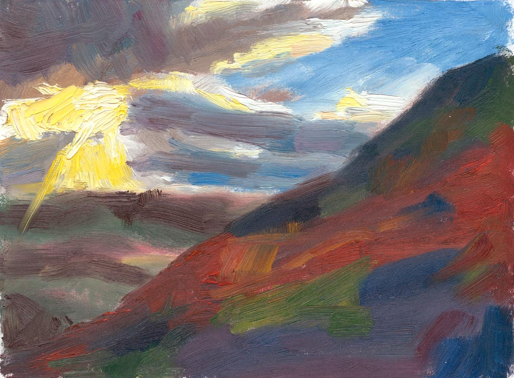 dramatic skies, Winder oil painting