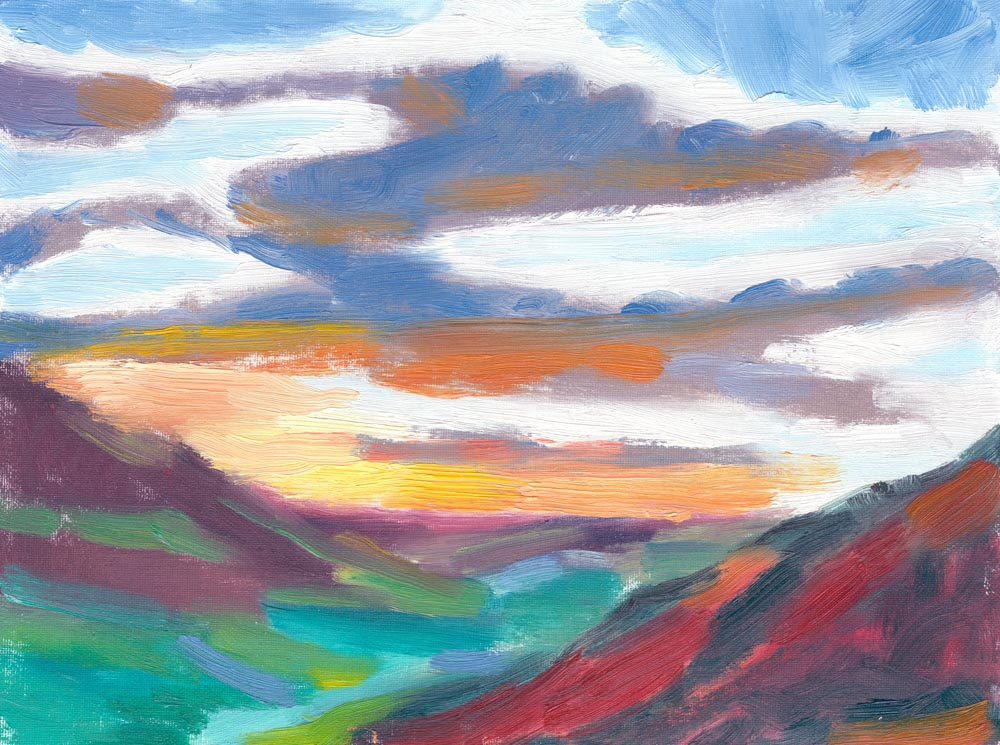 soaring clouds sunset oil painting