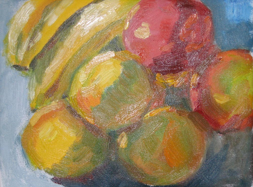 oil painting of fruit in diagonal arrangement