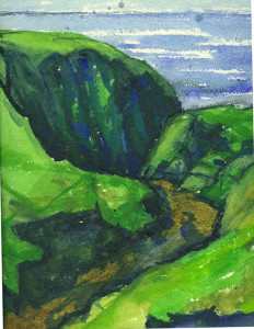 watercolour painting of Dibidal gorge