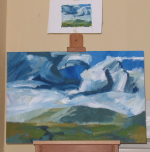 large canvas on easel - a later view