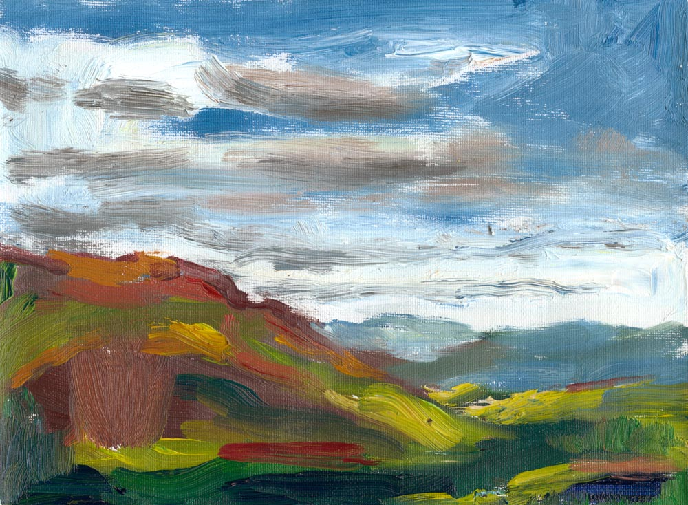 "small plein air oil painting of hills in the evening, 6""x8"" on canvas"