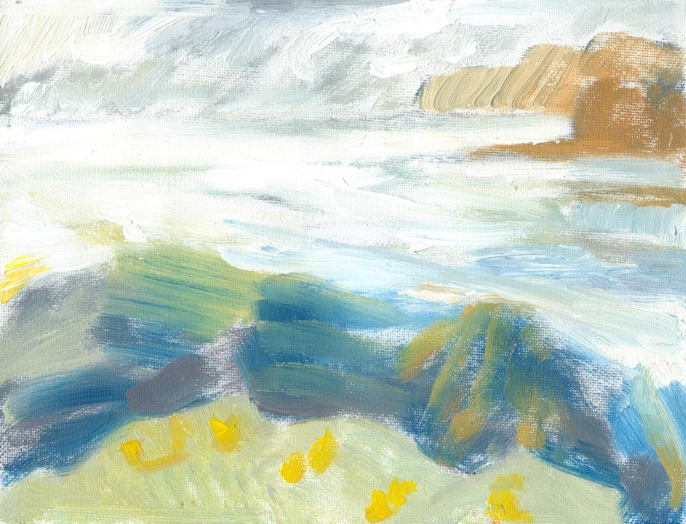 Loch Pooltiel, silvery evening light, quick plein air oil sketch