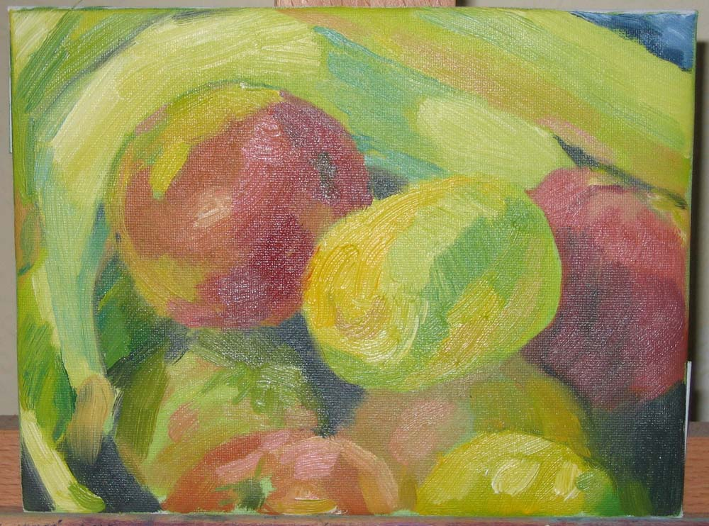 painting of lemon and other fruit in oils on canvas