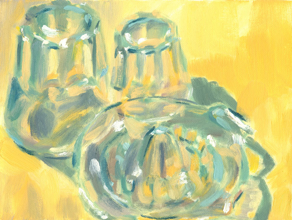 6x8 inches still life of glassware, oil on canvas