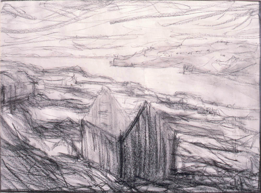 charcoal drawing of ruin, Glendale