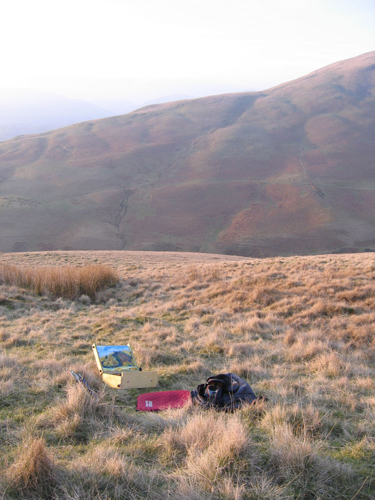 plein air painting in the hills, waves of grass in foreground