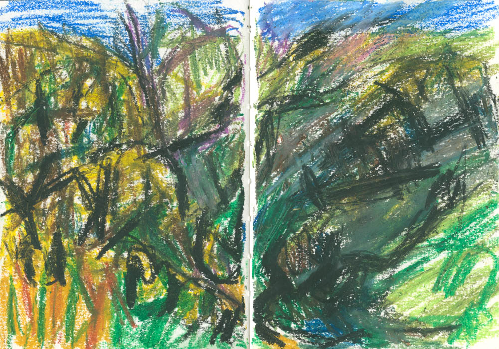 movement in a landscape, oil pastel sketch