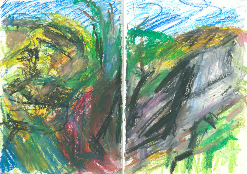oil pastel sketch en plein air, semi-abstract
