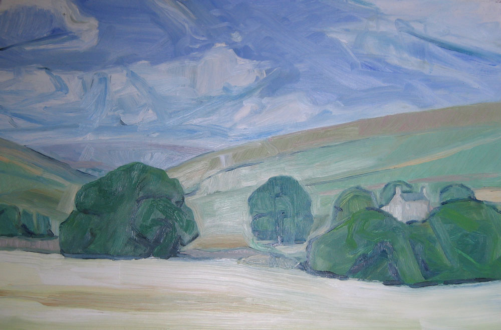 oil painting of hills and valley in oils on hardboard