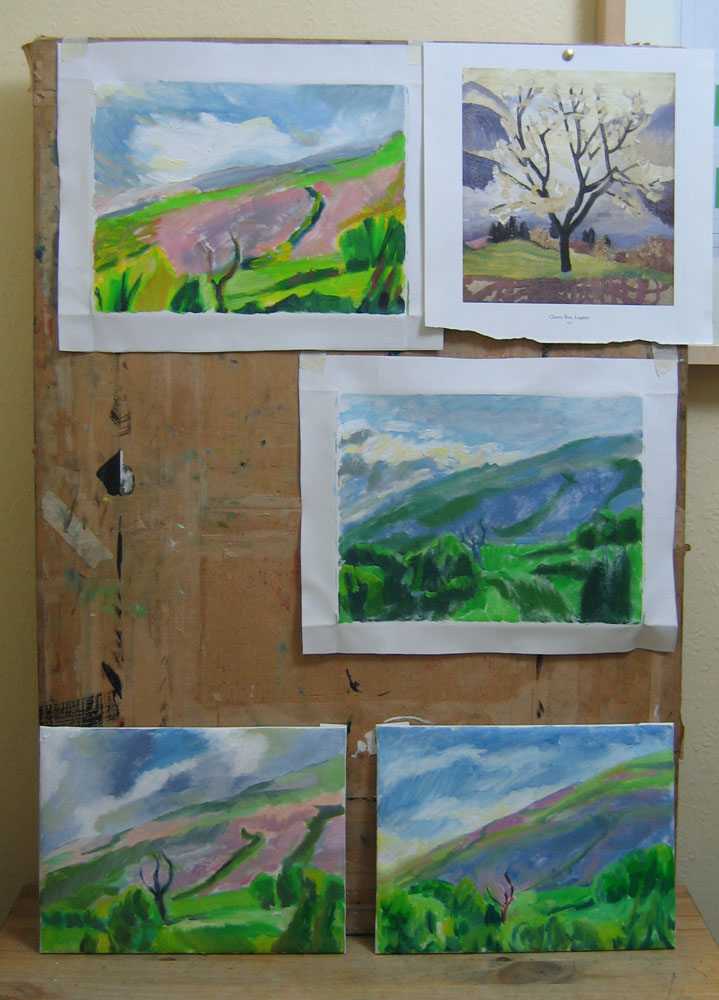 hill paintings, part of a series in oil on canvas, fixed to a board