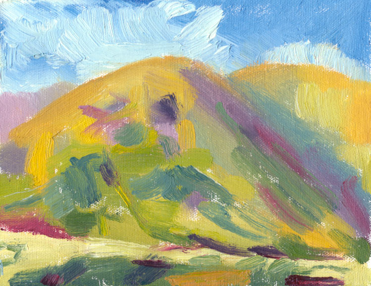 oil sketch of hill shadow, blue and purple