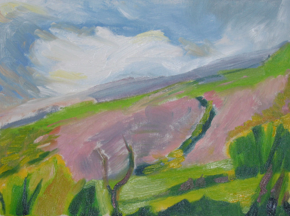 through the window hill view in oils, pink evening light