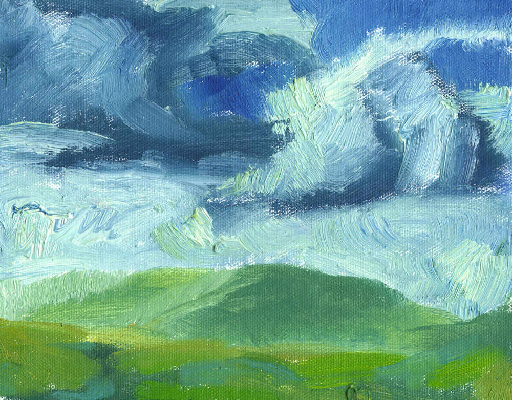oil painting of hills and clouds