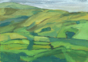 oil painting of hills and fields