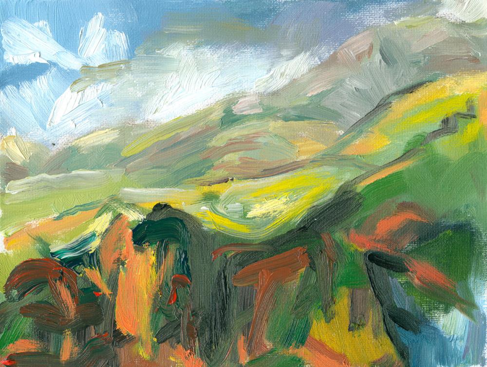 plein air oil sketch, Howgill fells