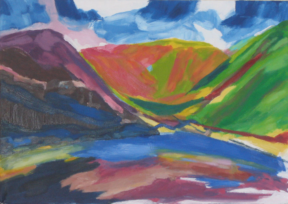 oil painting of Kentmere reservoir
