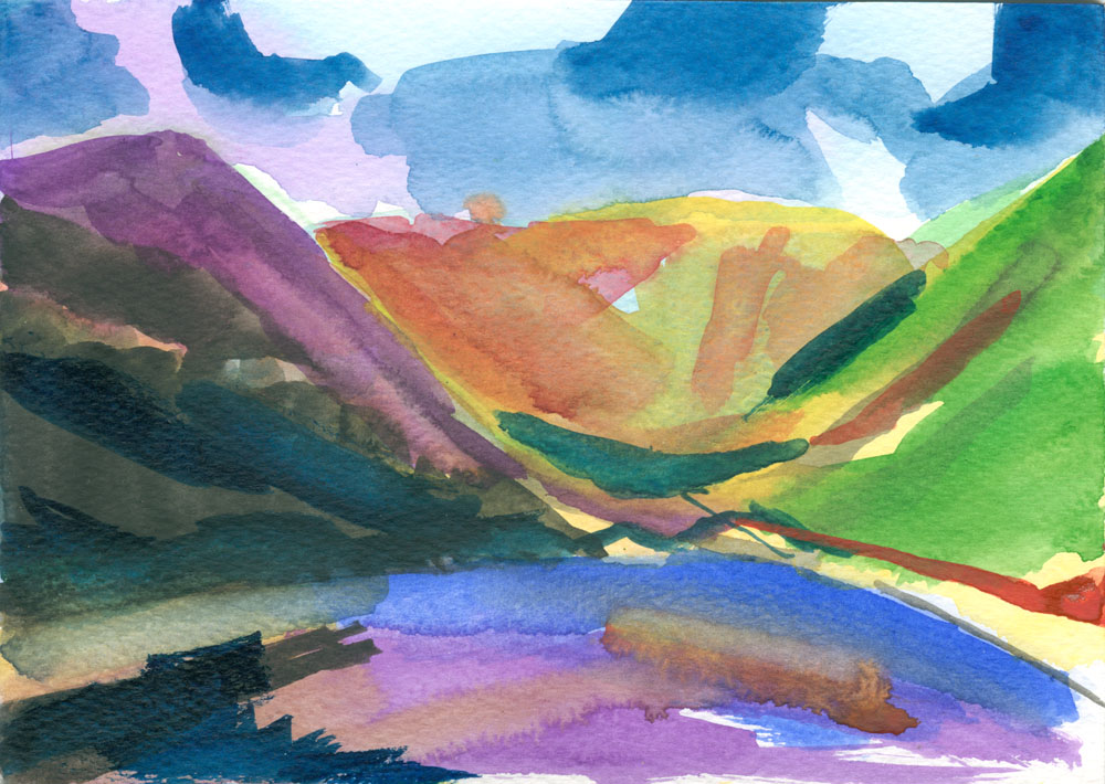 watercolour of Kentmere reservoir