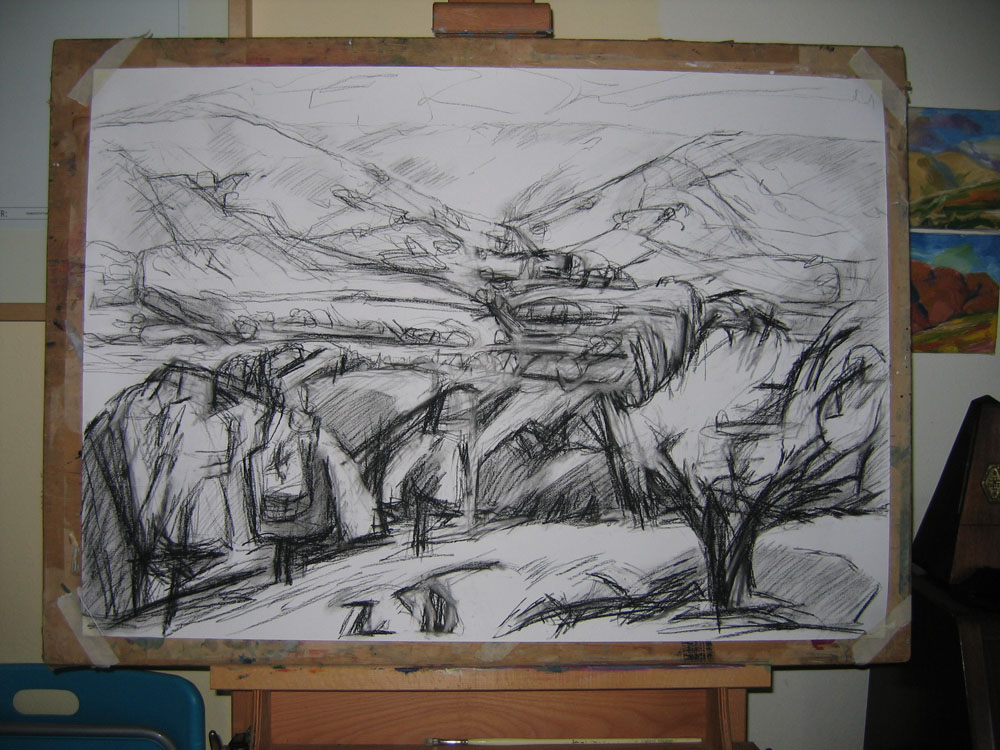 A1 charcoal drawing of a Bowland landscape