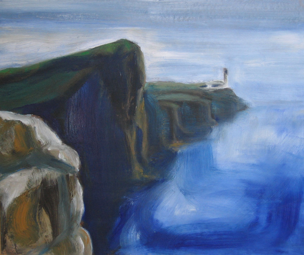 oil painting of Neist Point lighthouse