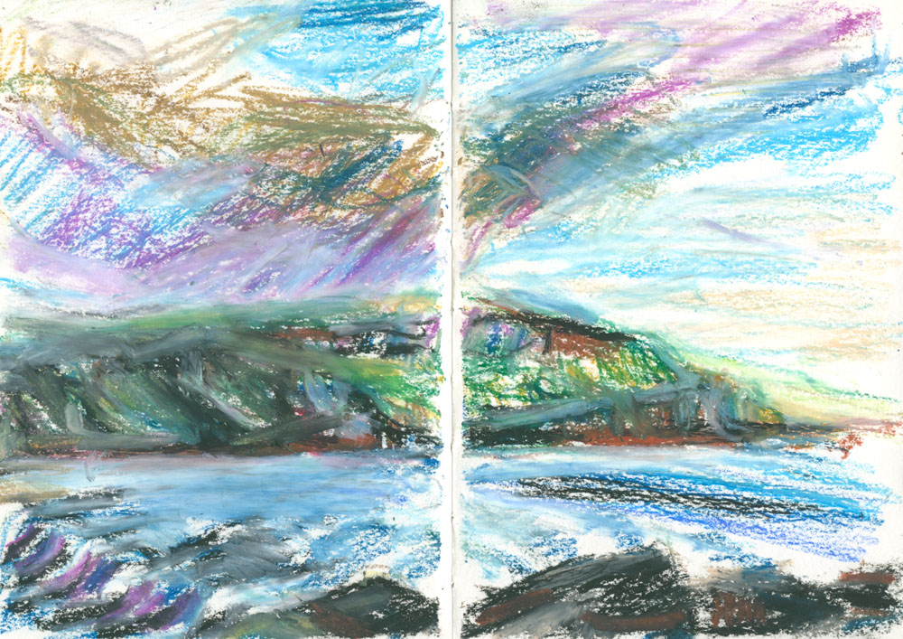 plein air sketch in oil pastel, A6 sketchbook, Skye evening