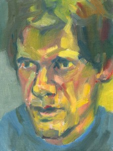 portrait in oils of man talking