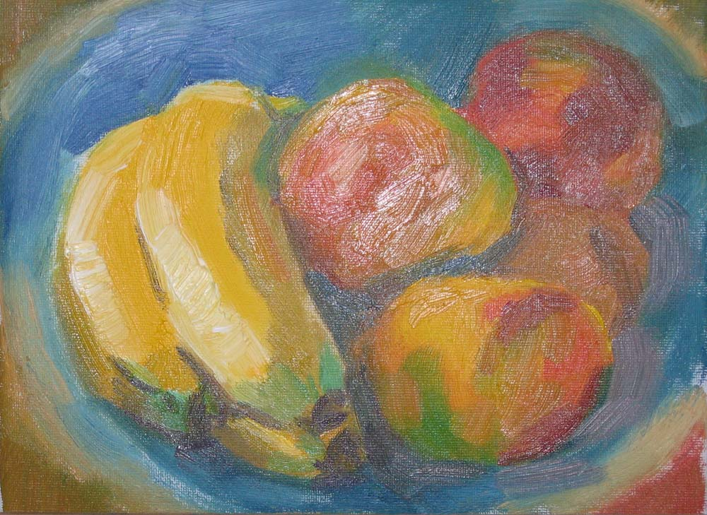 oil painting of fruit in mellow colours