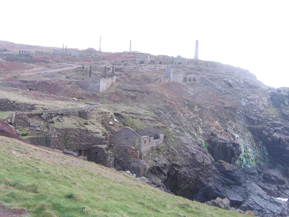 mining ruins on the cliffs at Botallack, Cornwall, photograph
