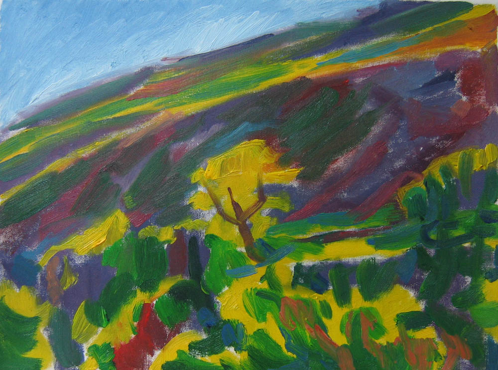 oil painting, 9x12 inches on canvas, colourful swirling energy, tree in the landscape