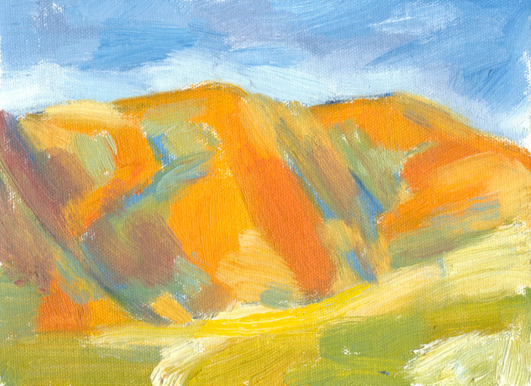 oil sketch, orange hill shadows