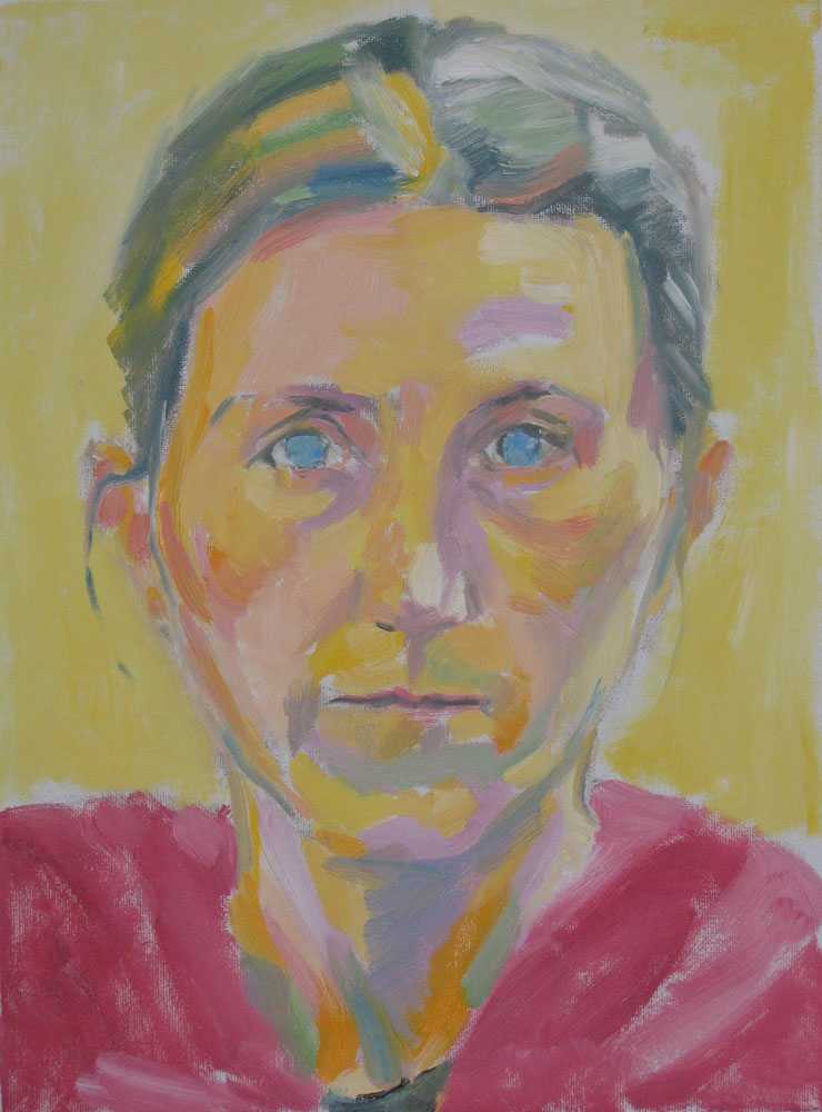 oil self-portrait on 9x12 canvas, pale and unwell