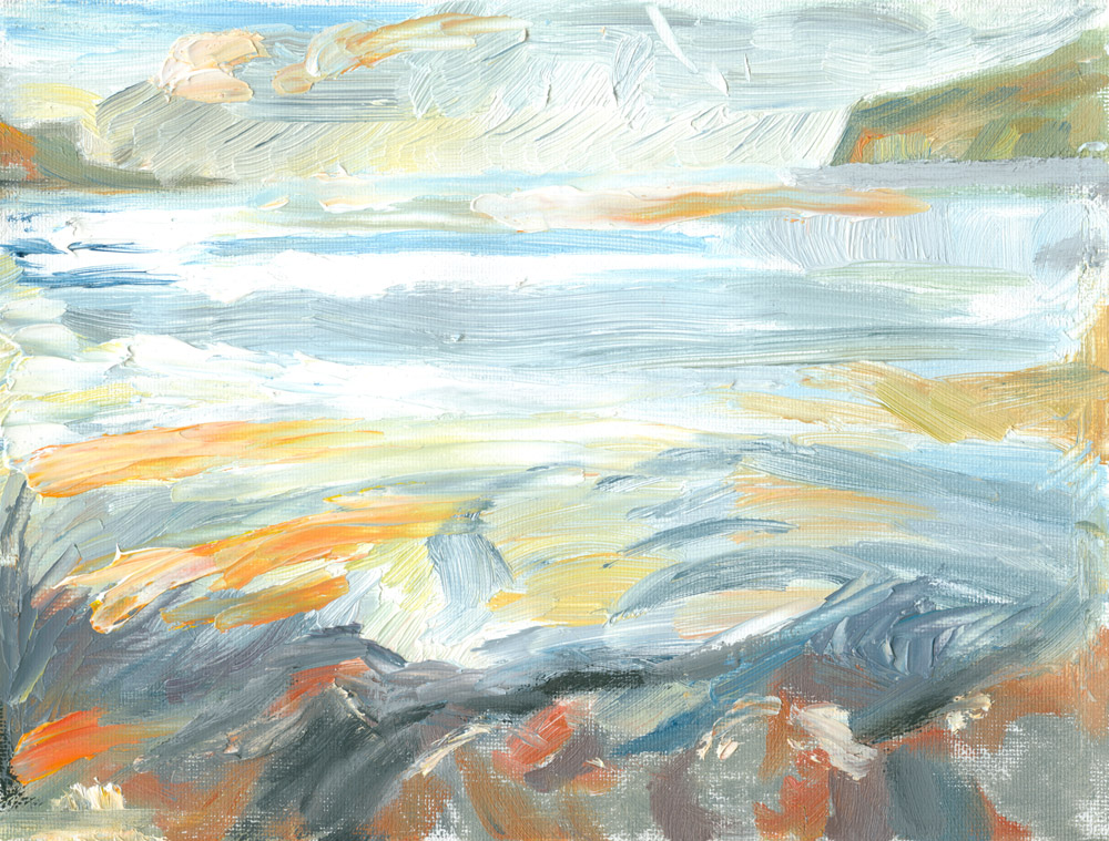 oil painting looking across Loch Pooltiel as the sun started to set