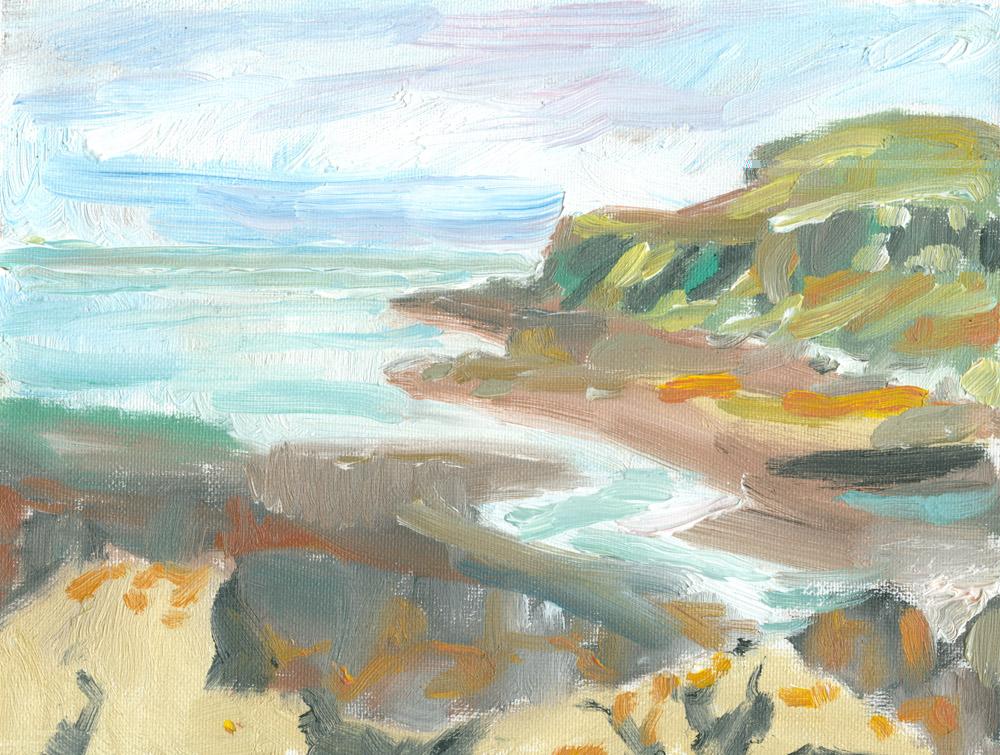 plein air sketch in oils, Loch Pooltiel, Skye